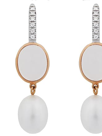 MIMI MILANO Milky Quartz Pearl Diamond 18k Gold Earrings