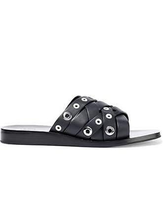 Rag & Bone Rag & Bone Woman Hartley Eyelet-embellished Leather Slides Midnight Blue Size 41