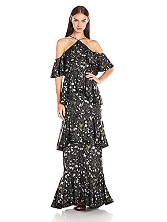 d3989e3379 Cynthia Rowley Womens Floral Print Cold Shoulder Ruffle Gown, Black /White/Green,