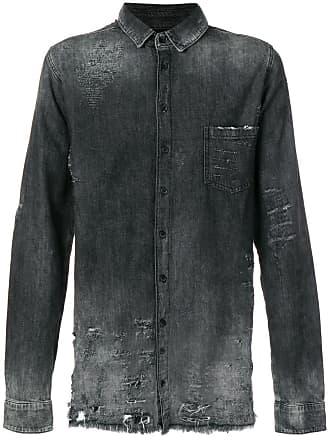 Thom Krom Camisa jeans com efeito desgastado - Cinza