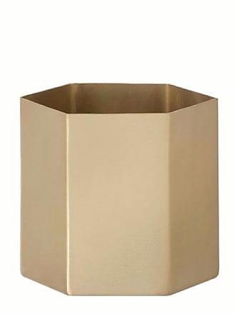 Ferm Living Large Hexagon Brass Planter Pot - Gold