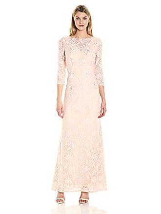 Alex Evenings Womens Long Lace Dress with Illusion Neckline and Sleeves, Pale Blush, 14