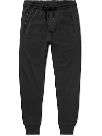 Burberry Haleford Tapered Satin-trimmed Loopback Cotton-jersey Sweatpants - Black