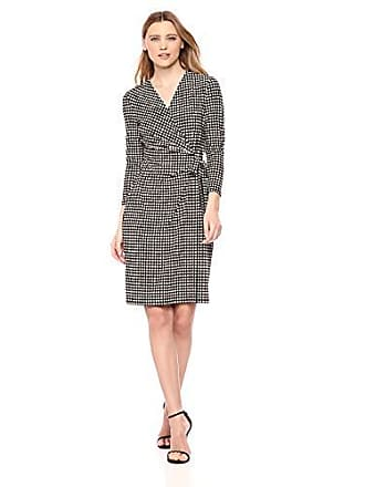 Anne Klein Womens Classic V-Neck Faux WRAP Dress, BLK/Anne White, M