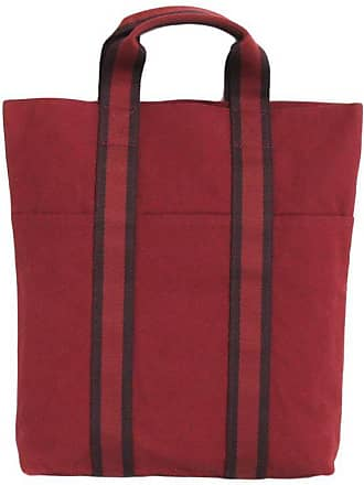 a34a7f93890 Hermès Hermes Tote Bag In Red H Canvas With Red And Dark Purples Strips
