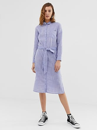 Pepe Jeans London Melania denim maxi shirt dress - Blue