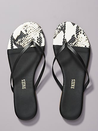 Tkees Snake-Embossed Leather Thong Sandals