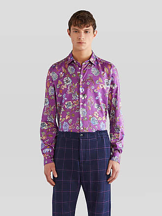 Etro Flower-print Cotton Shirt, Man, Purple, Size 38