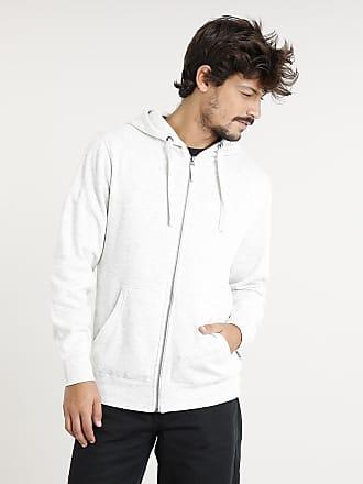 Basics Blusão Masculino Básico Mescla com Bolso e Capuz Manga Longa Off White