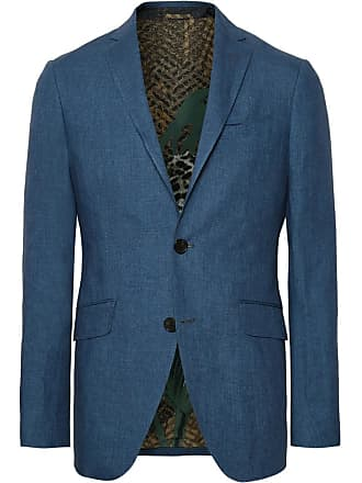 Etro Storm-blue Linen Suit Jacket - Blue