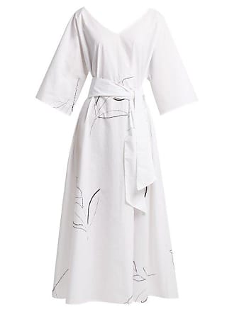 5909ceaabc9a07 Merlette Giverny Embroidered Cotton Poplin Dress - Womens - White Print
