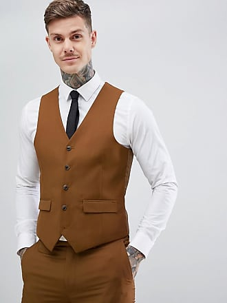 Harry Brown Slim Semi Plain Textured Suit vest - Brown