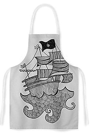 KESS InHouse Belinda GillesShips Ahoy Gray Nautical Artistic Apron, 31 by 35.75, Multicolor