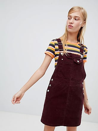 Asos cord overall dress in oxblood - Red