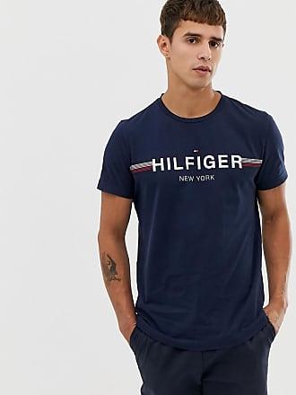 Tommy Hilfiger icon stripe chest logo t-shirt in navy