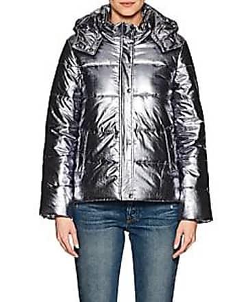 Barneys New York Womens Tech-Lamé Puffer Coat - Silver Size XL