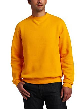 Soffe Mens Training Fleece Crew Sweatshirt, Gold, Large