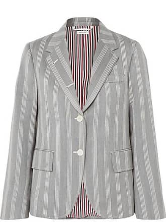 Thom Browne Striped Wool And Cotton-blend Blazer - Gray