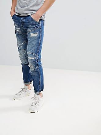 G-Star 5620 3D - Mellanblå jeans med avsmalnande ben och slitna partier -  Blå ed43af6a2872a