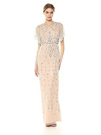 Adrianna Papell Womens Beaded Long Dress with Scalloped Edging, Silver/Nude, 6