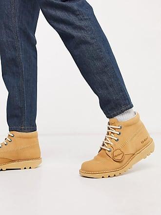 Kickers kick hi boots in beige nubuck