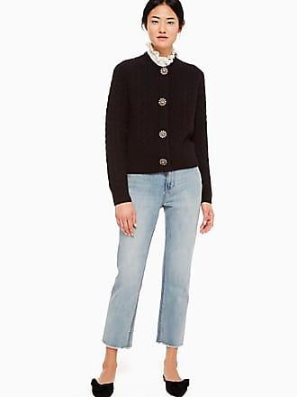 Kate Spade New York Embellished Cable Cardigan, Black - Size M