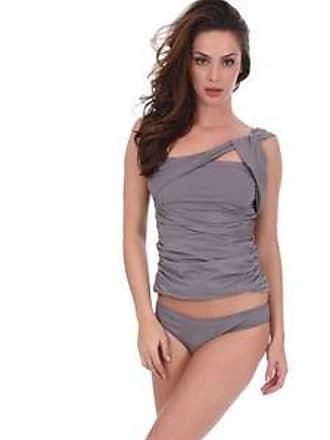 Lola Swimwear Tankini con Tiras en un Hombro y Top Plisado <br>Gris<br>2 Pzas