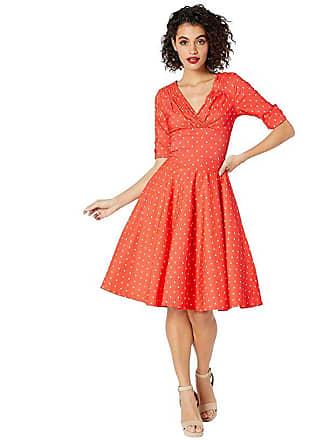 Unique Vintage Pantone x Unique Vintage 1950s Delores Swing Dress with Sleeves (Coral/White Dot) Womens Dress