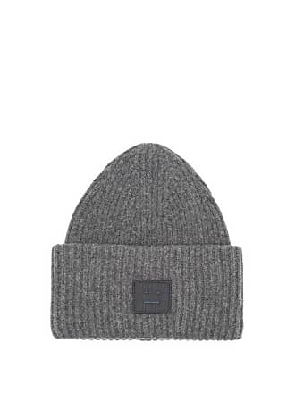 6fd6c2e0460 Acne Studios Pansy S Face Ribbed Knit Beanie Hat - Womens - Grey