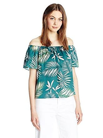 BB Dakota Womens Mia Printed Off The Shoulder Top, Cool Green, X-Small