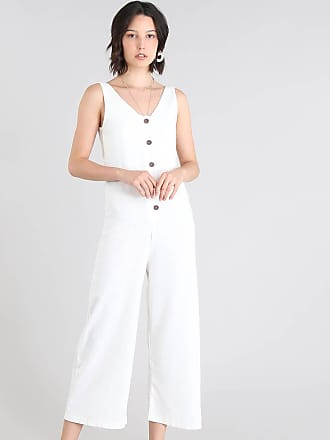 C&A Macacão Feminino Pantcourt com Botões Off White