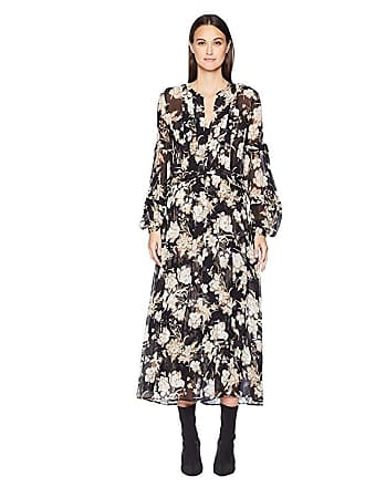 1c69eacbe94 The Kooples Long Dress with Lace In A French Baroque Print (Black) Womens  Dress