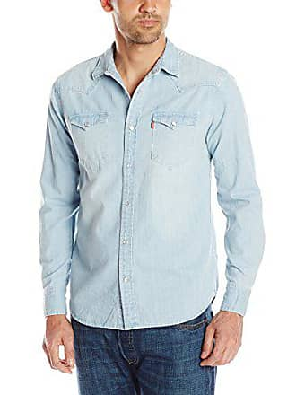 Levi's Mens Standard Barstow Denim Western, Washed Blue, X-Large