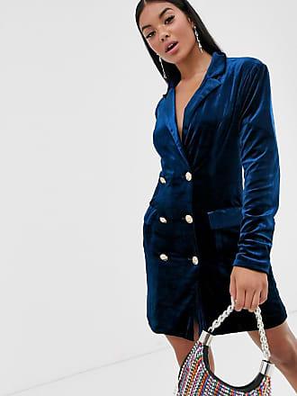 Missguided velvet blazer dress-Navy