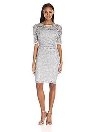 Xscape Womens Side Ruch Short Sleeve Glitter Lace Dress, Silver, 8