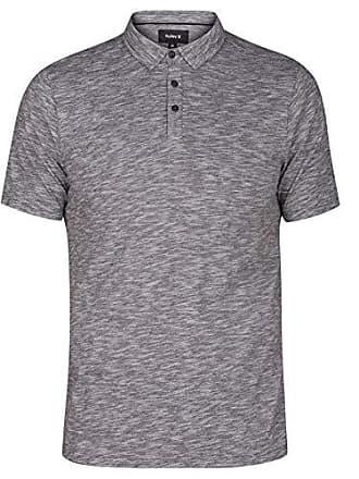 Hurley Mens Mini Striped Slub Textured Short Sleeve Polo, Black/White, L
