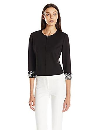 Anne Klein Womens Black Embellished Sleeve Jacket, 6