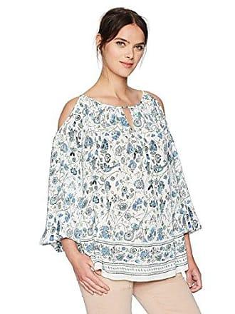 a9282d6f5b2ba Max Studio Womens Woven Printed Cold Shoulder Blouse