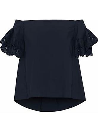 GOEN.J Goen.j Woman Off-the-shoulder Broderie Anglaise-trimmed Cotton-poplin Blouse Midnight Blue Size L
