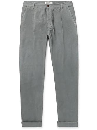 Universal Works Tapered Pleated Cotton-corduroy Trousers - Gray
