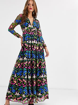 Asos v neck embroidered maxi dress-Multi