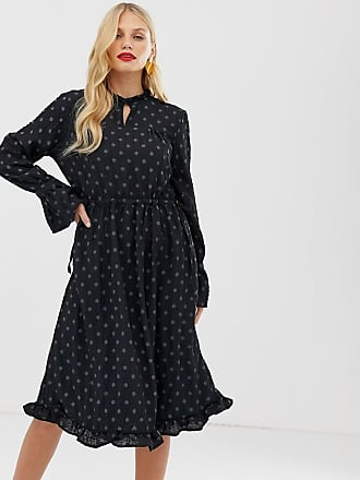 Y.A.S textured spot midi dress with waist tie - Black