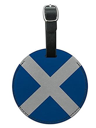 Graphics & More Graphics & More Scotland National Country Flag Round Leather Luggage Id Tag Suitcase Carry-on, Black