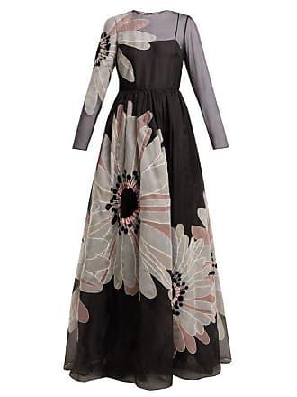 8b13fd71f26bb Valentino Flower Appliqué Organza Gown - Womens - Black Multi
