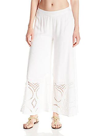 Vix Womens Solid Peggy Embroidered Cover Up, White, Medium