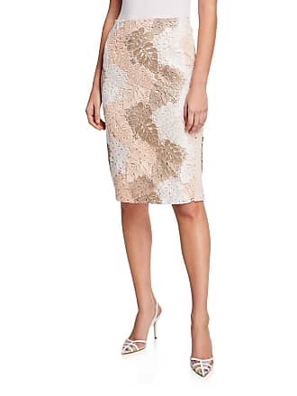 Iconic American Designer Knee-Length Pencil Skirt w/ Leaf Lace Overlay