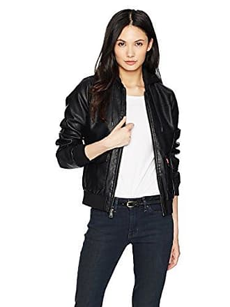 7275602d38c Levi s Womens Two-Pocket Faux Leather Hooded Bomber Jacket