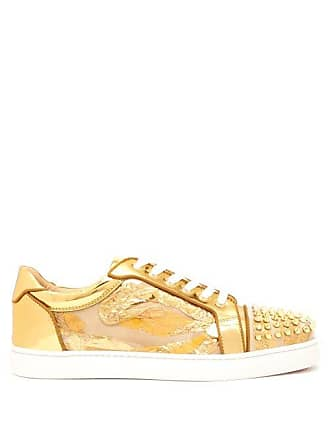 a746b1c5b80e Christian Louboutin Seaveste Spike Embellished Low Top Trainers - Mens -  Gold