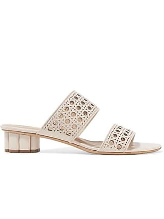 bb024e634609 Salvatore Ferragamo Belluno Laser-cut Leather Mules - Ivory