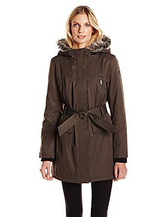 Kensie Womens Polyester-Filled Belted Parka, Military, Medium